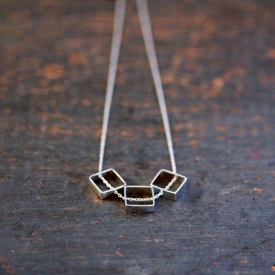 Sterling Silver Square Trio Necklace Three Geometric Slide Modern Handmade Jewelry via Etsy