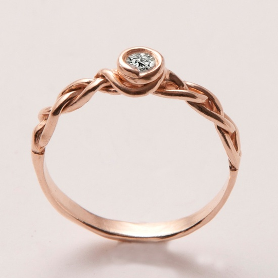 Braided Engagement Ring in 14K Rose Gold by etsy.com/...