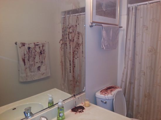 Bloody Help on the mirror - Halloween scary bathroom decor