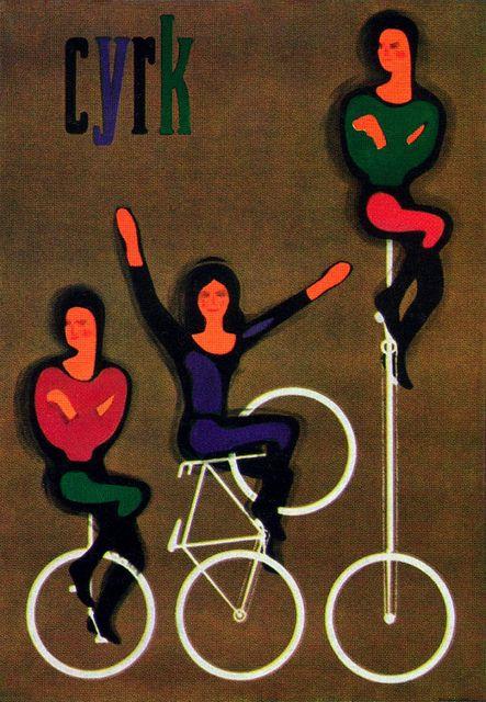 Maciej Urbaniec CYRK Illustration    From a series of posters for the Polish Circus. Artist Maciej Urbaniec. From Gebrauchsgraphik No. 12, 1966.