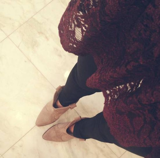 booties, leather leggings, oxblood lace top