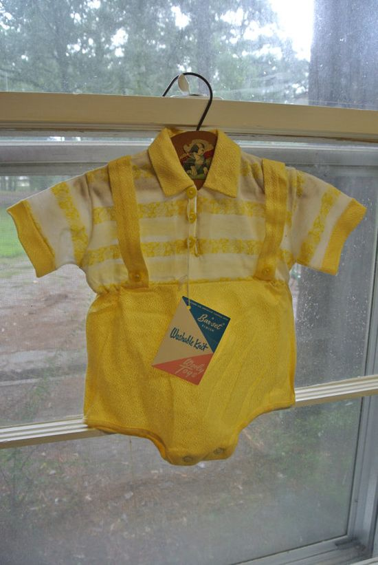 Vintage Baby Outfit Yellow by Kiddy Kotton by PickledPeppersPhoto, $10.00