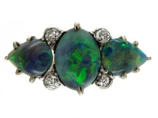 Black Opal Edwardian Ring