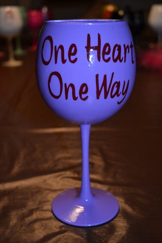 Sorority big little wine glass by BlessYourHeartGlass on Etsy, $15.00