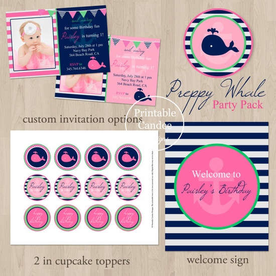 DIY Preppy Whale Nautical Birthday Party Pack  by printablecandee, $30.00