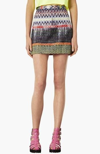 Trendy in a Topshop Ikat Pattern Skirt.