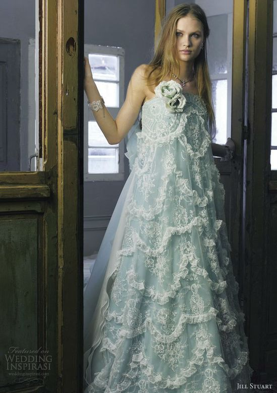 jill stuart wedding dress 2013 blue green strapless empire gown