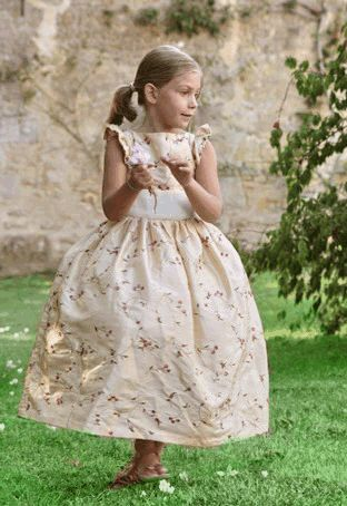 lovely gold and ivory flower girl dress designed by littleeglantine.com #wedding