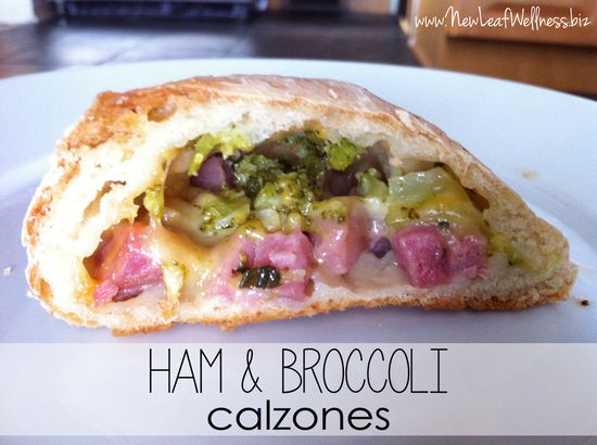 cooked and sliced ham and broccoli calzone Munchkin Meals March Link Up