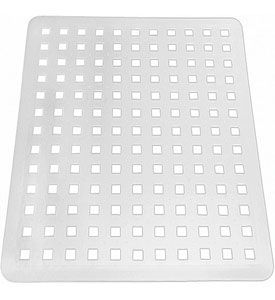 Protect plates bowls glasses and the bottom of your sink from being damaged as you hand wash dishes with this InterDesign Sink Mat. This large sink mat is over 16inch wide for use with large kitchen sinks and features durable rubber construction and plenty of drainage holes to allow your sink to drain