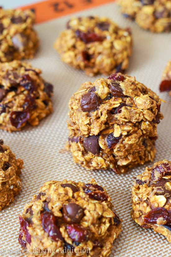 Low Fat Chocolate Chip Pumpkin Oatmeal Cookies