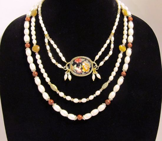 Vintage Inspired Pearl Necklace with Floral by RomanticThoughts, Christmas In July SALE -  $25.00