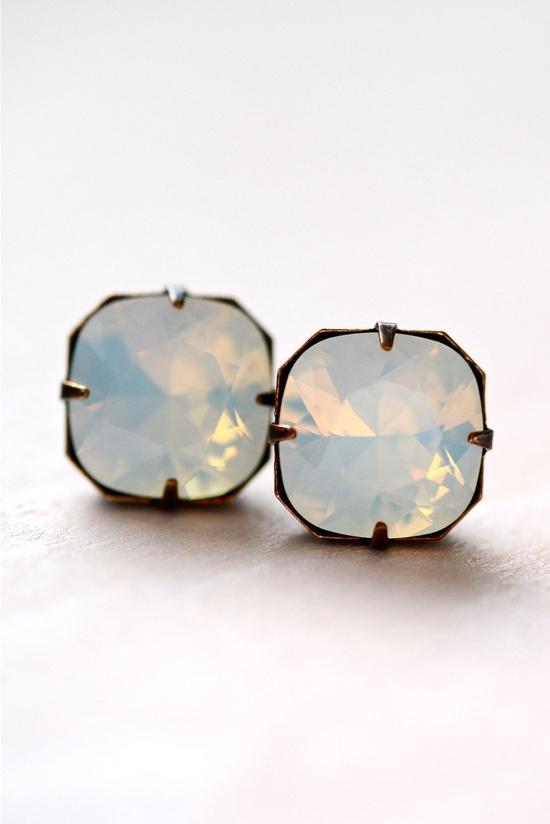 Moonstone Post Crystal Earrings Sterling Silver - Etoiles via Etsy.