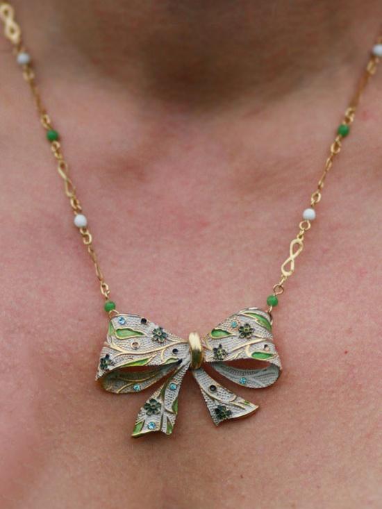 Repurposed Vintage Bow Brooch Necklace