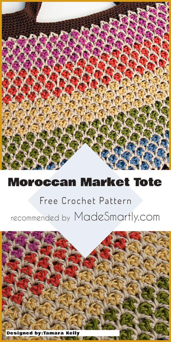 Moroccan Market Tote - Free Crochet Pattern #crochetpattern #crochetbag #freecrochetpatterns #yarns #crochetaddict #totebag