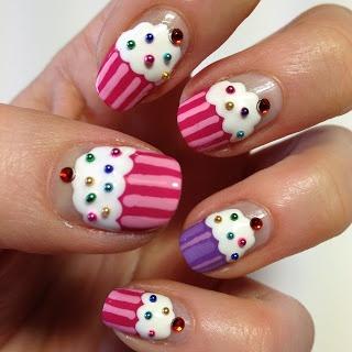 Cupcake nail art with beads and rhinestones