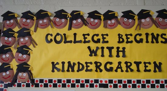 Bulletin board (could be for Pre-K graduation as well; maybe use photos of faces