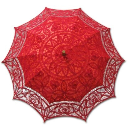 Lace patterned red umbrella - Best Valentine's Heart Fashion Umbrellas for Lovers 2013