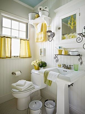 My new bathroom has a yellow tub & toilet (no joke), so I'm looking for yellow bathroom inspiration. This I LOVE.