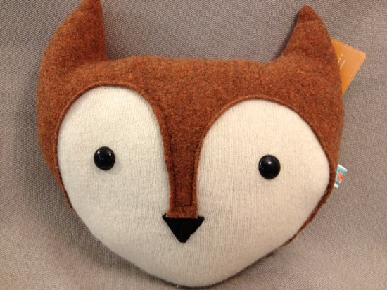 Fox head pillow made from sweaters by tigerflight on Etsy, $43.00