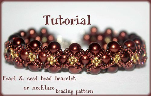 Pearls and seed beads Beading Pattern PDF bracelet or necklace beading pattern tutorial technique - Beading Daily