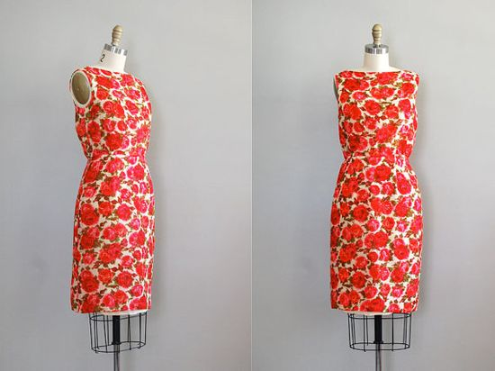 1960s S. Howard Hirsh rose print sheath dress
