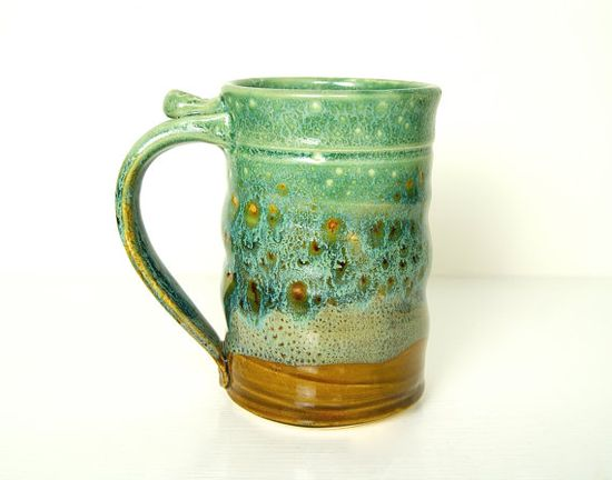 Tall Mug Beer Stein Tankard Handmade Pottery by RiverStonePottery, $30.00