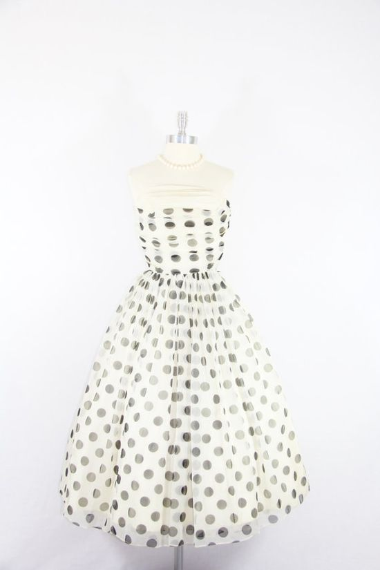 1950's Vintage Dress  Strapless White with by VintageFrocksOfFancy, $160.00