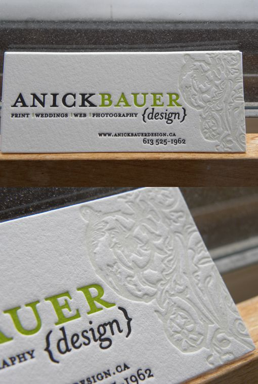 beautiful letterpress business card