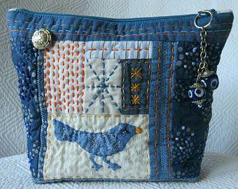 Le sashiko pochette, sac en Patchwork de Handquilted, issus de Jeans recyclé en sac, pochette matelassée, sac en Jean bleu, sac de Bluebird