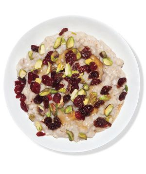 Oatmeal With Dried Fruit and Pistachios recipe from realsimple.com. #MyPlate #wholegrain #grains #fruit