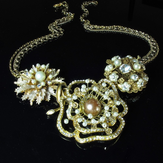Vintage Inspired, Flower Necklace, Rhinestone Pearl, Upcycled Jewelry.  via Etsy.