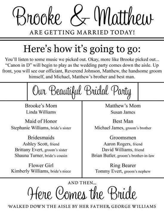 Cute wedding program