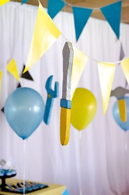 Decorations at a Construction Party.   See more party ideas at CatchMyParty.com.  #construction #partyideas