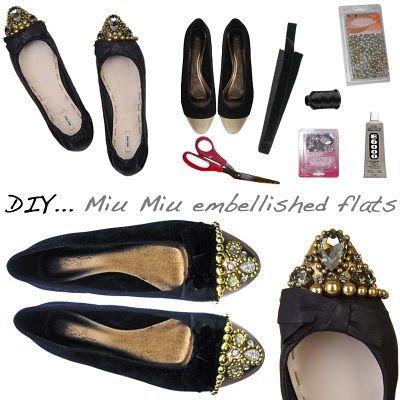 DIY: Miu Miu Inspired Crystal-embellished leather flats