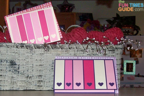 Handmade Valentine cards I made using a heart punch and some leftover paper scraps. photo by Suzie at TheFunTimesGuide.com