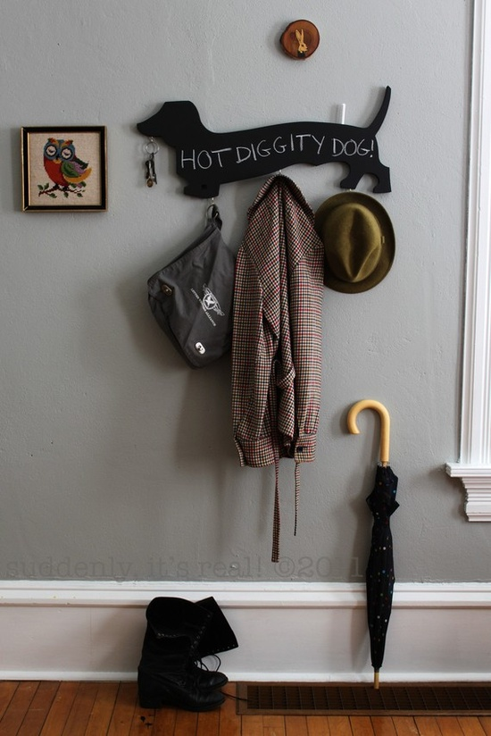 chalkboard doxie wall hook -- NEED!
