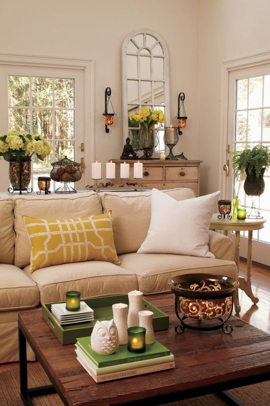Yellow adds the perfect amount of color to this living space