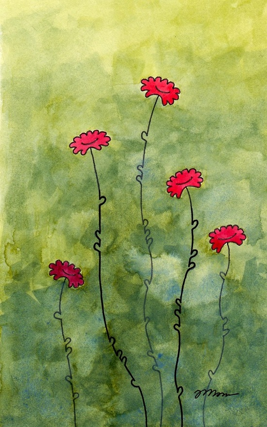 red daises watercolor / jemsimajes