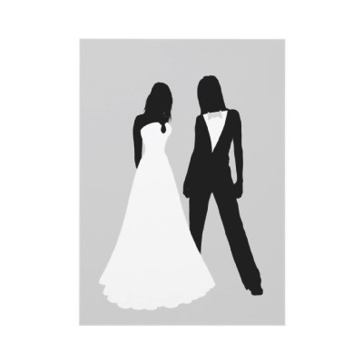 Well, we're not black, but...Two #brides #pride wedding / civil ceremony invitations .. one bride in a dress the other in a suit.. ideal for the same sex wedding .. designer #gay / #lesbian #wedding #invitations come complete with white envelopes.. design by #Ricaso