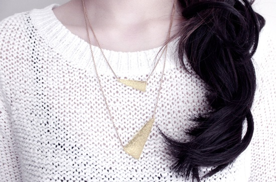 Points Hammered Brass Layered Necklace. $62.00