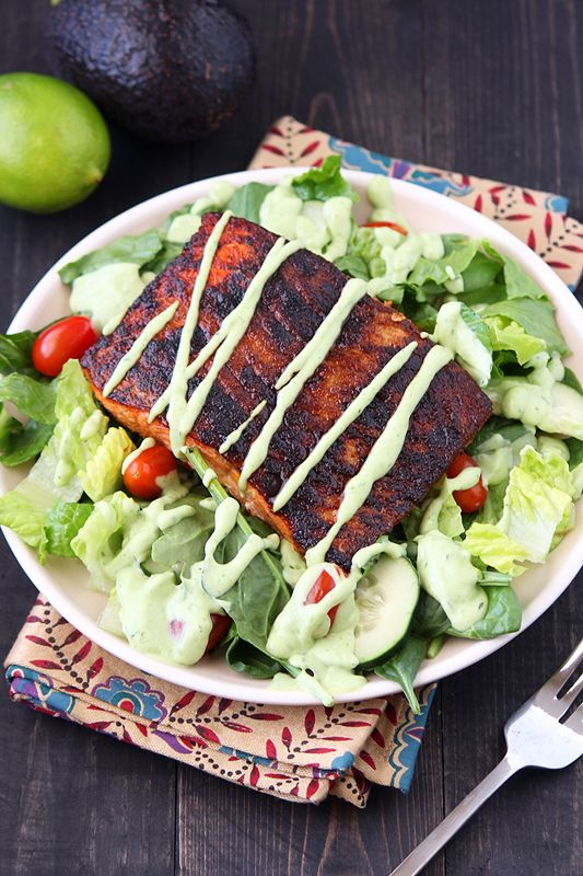 Blackened Salmon Salad with Avocado Ranch Dressing by handletheheat:This light, fresh, and colorful salad is bursting with fantastic flavor and texture.  #Salad #Blackened_Salmon #Avocado