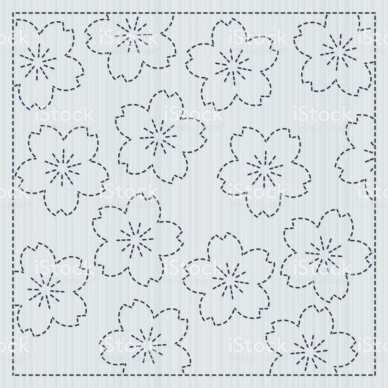 Sashiko japonais cadre pour fleur de Sakura bricolage sashiko japonais cadre pour fleur de sakura bricolage – cliparts vectoriels et plus d'images de abstrait libre de droits