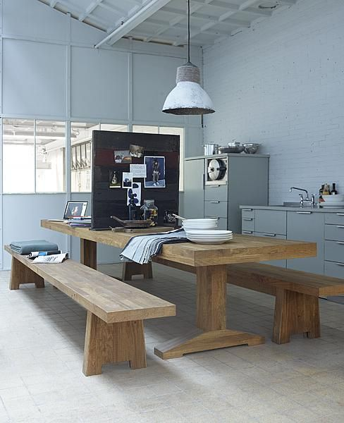 Wooden dinner table with wooden couch #industrial #lamp #dining #room