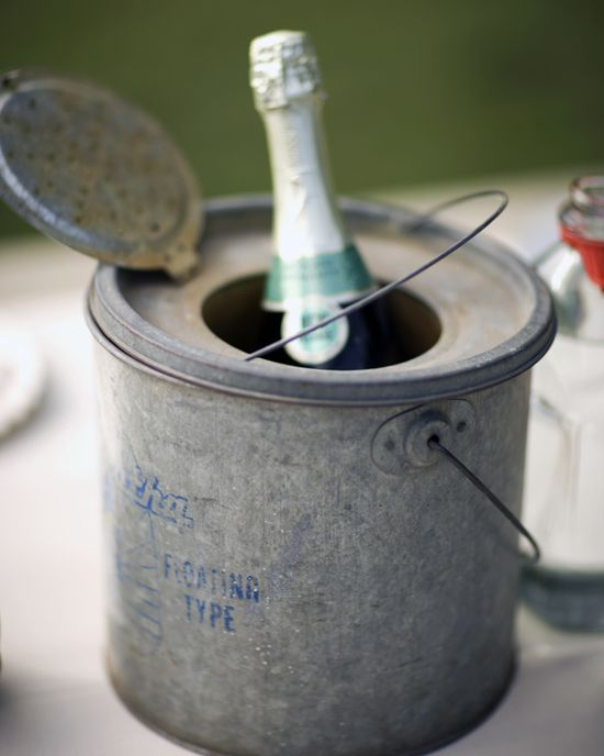 vintage minnow buckets as Champagne or wine buckets, just add ice. Great idea for a rustic wedding.