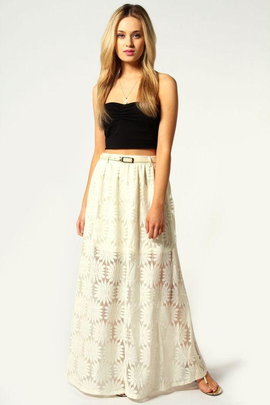 Katie Belted Lace Maxi Skirt #festival #black #white #fashion #boho #maxi #skirt #dress