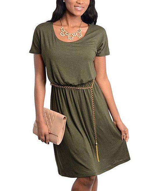 Olive Chain Belt Dress