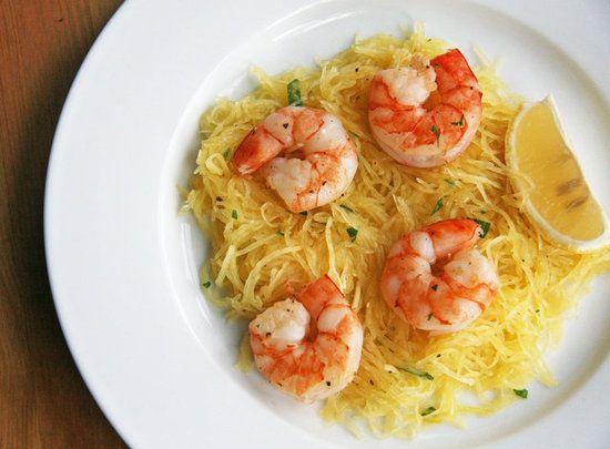 Roasted shrimp over spaghetti squash. Yum!