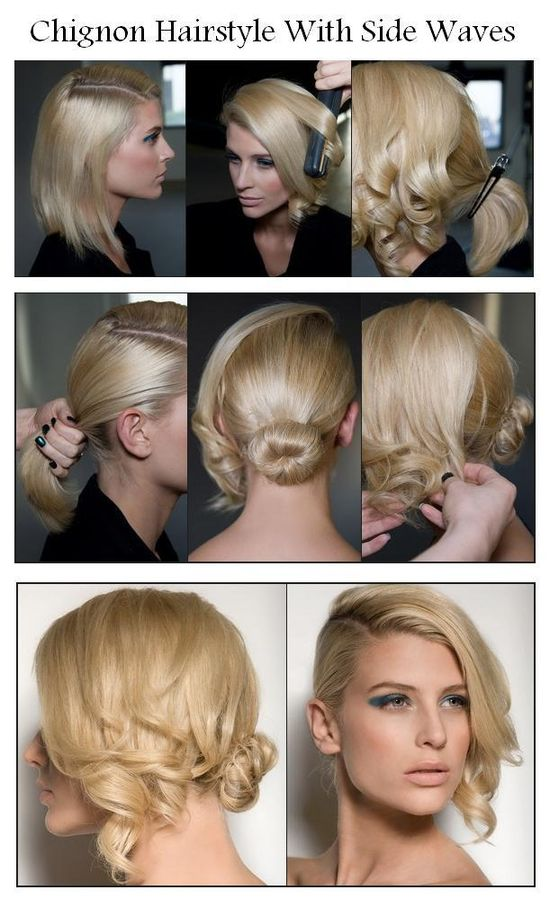 Chignon Hairstyle With Side Waves