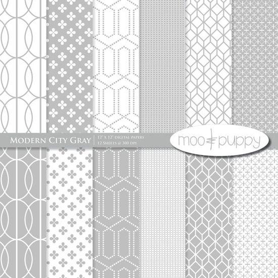Gray Modern City digital scrapbook paper by Moo